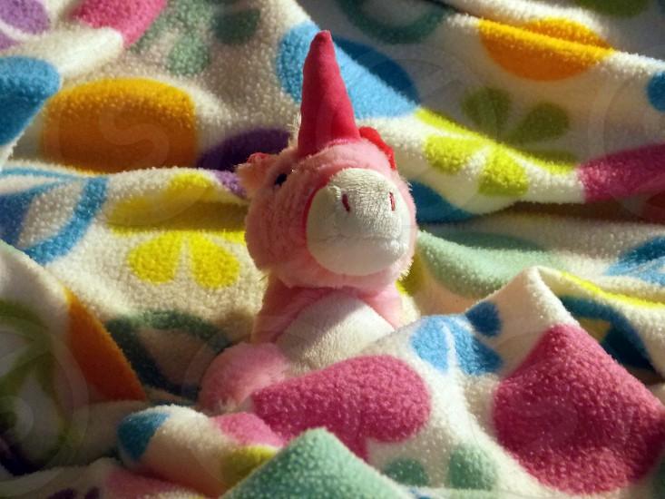 pink and red unicorn stuffed animal photo