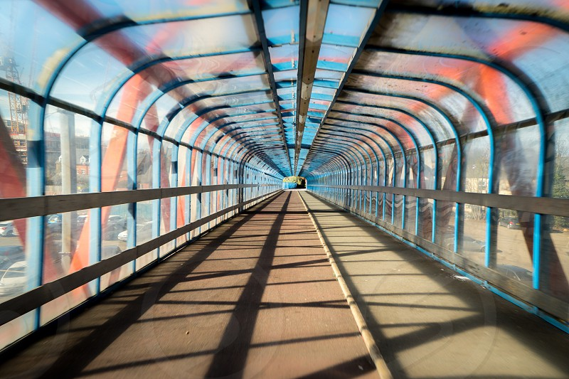 Overpass tunnel at railway station  photo