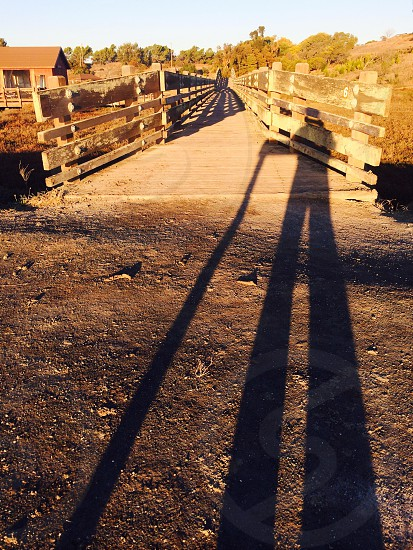 brown wooden fence on bridge photo