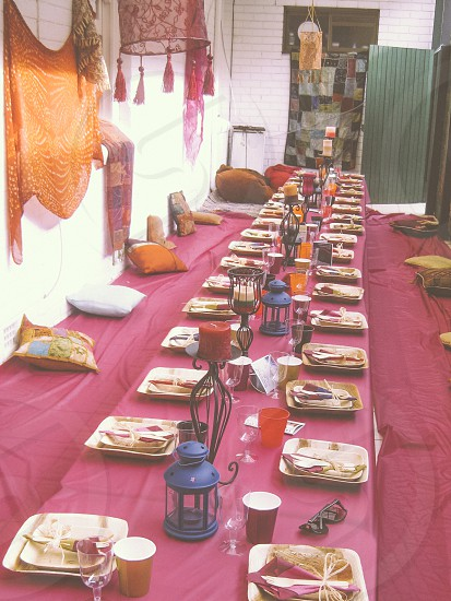 A Moroccan style youth seder is set-up waiting for the guests to arrive in a small Synagogue in LA. photo