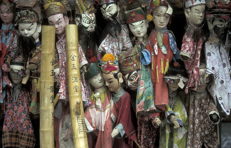 puppet in a market in the town of Yangshou near the city of  Guilin in the Province of Guangxi in china in east asia.  photo