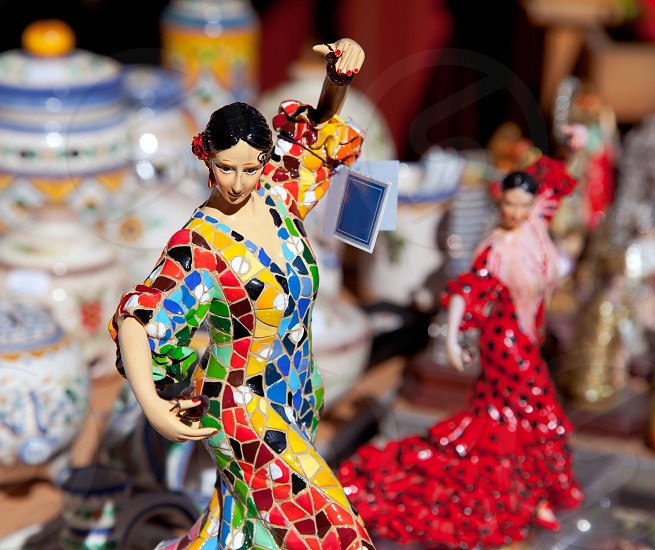 gipsy flamenco dancer woman statue crafts in Spain photo