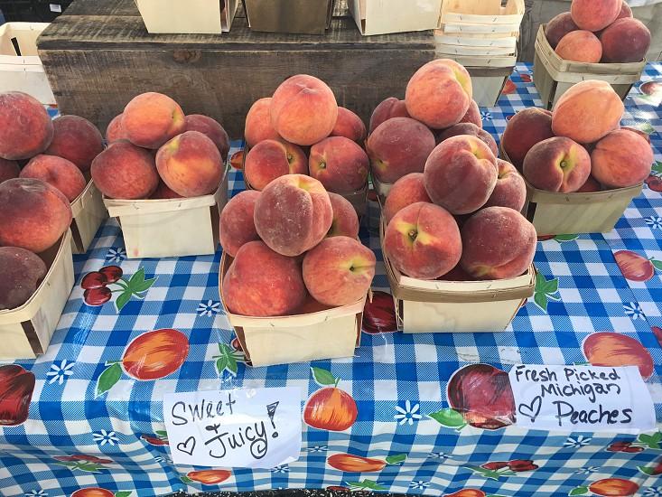 Farmers market peaches summer healthy eating fruits locally grown photo