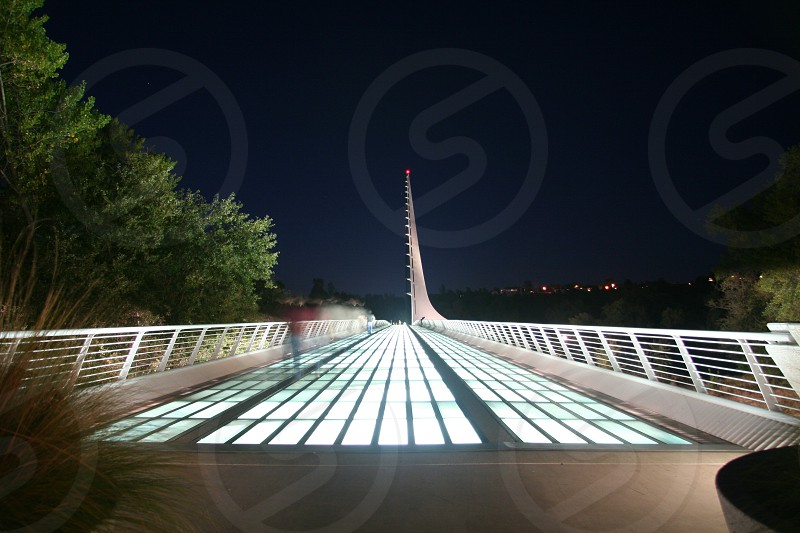 Sundial Bridge at night Redding CA  photo