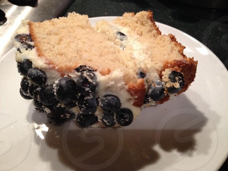 Cake • Blueberries • Blueberry frosting • sponge cake photo