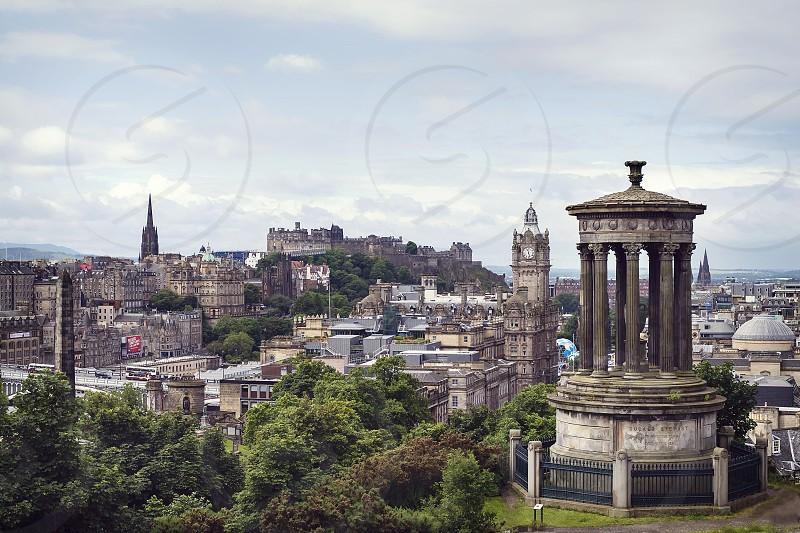 Skyline of Edinburgh Scotland including Edinburgh Castle. photo
