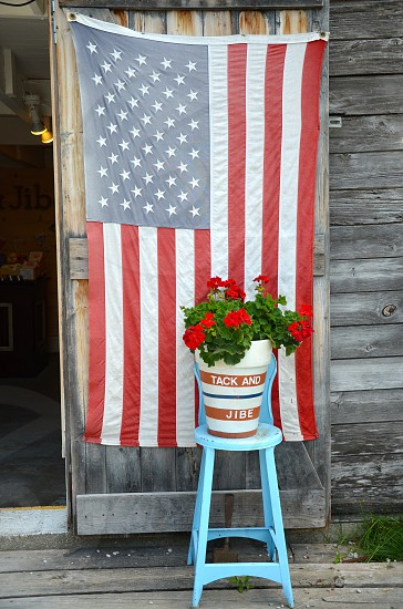 Flag 4th of July stool flower red white and blue photo