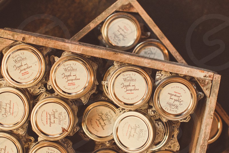 labeled mason jars in crates photo