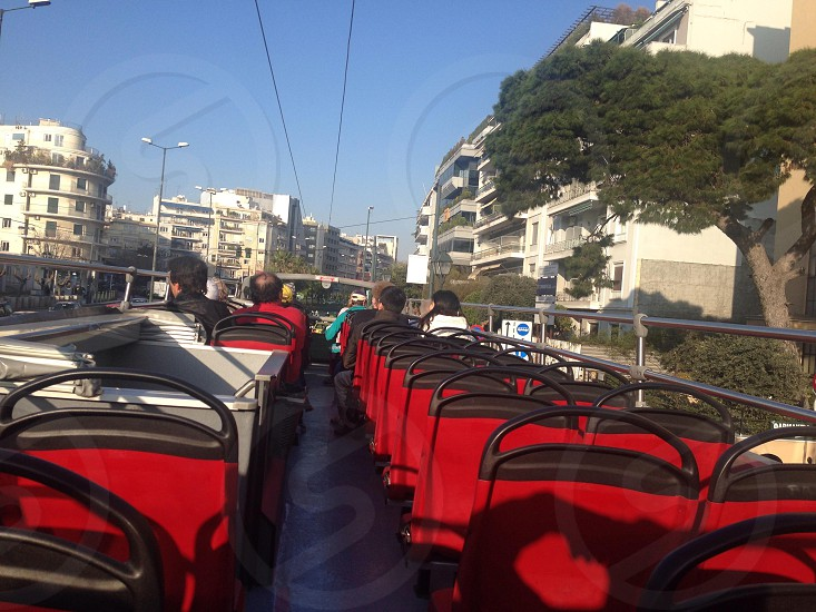 red double decker bus upper seats photo