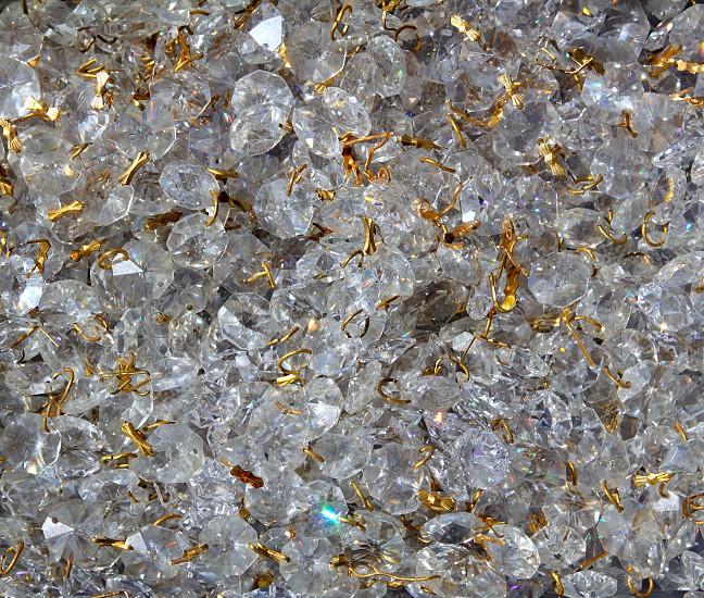 Strass transparent glass jewellery pattern texture golden wire photo
