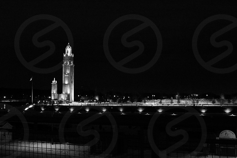 Clock tower in the old port of Montreal on a cold winter night. photo