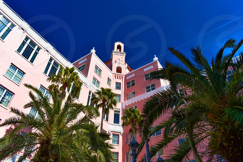 St. Pete Beach Florida. January 25 2019. Top view of The Don Cesar Hotel and palms trees. The Legendary Pink Palace of St. Pete Beach (5) photo