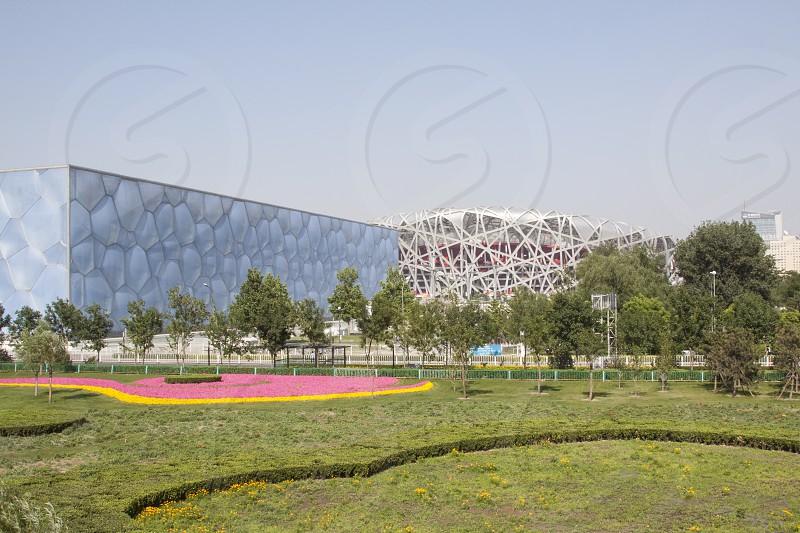 Swimming venue and Beijing National Stadium - Bird's Nest in Beijing China photo