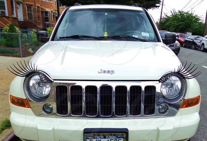 eyelashes car lights jeep photo