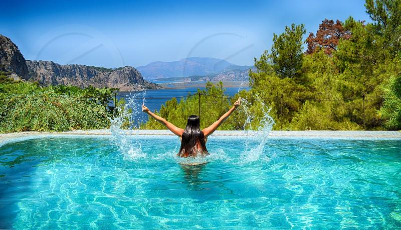 Beautiful view from swimming pool. Iztuzu beach Dalyan photo