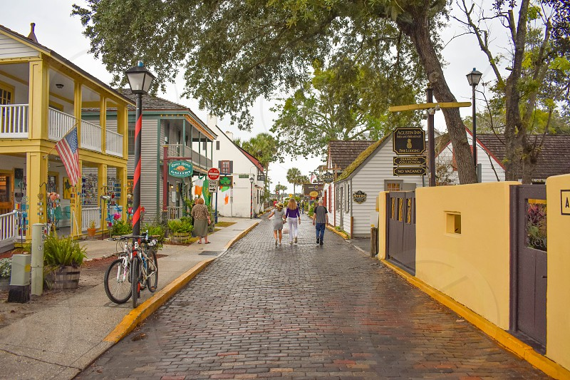 St. Augustine Florida. January 26  2019.  People walking in colorful old town at  Florida's Historic Coast. photo