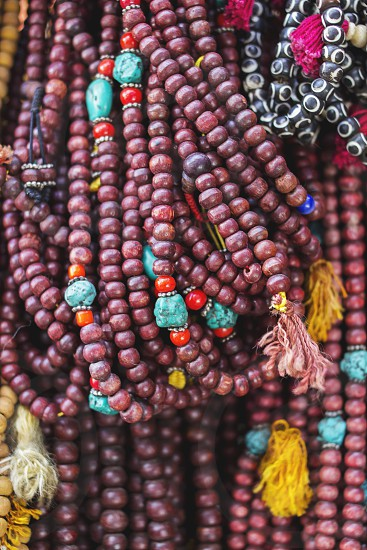 colorful accessories on the street market in Kathmandu Nepal photo