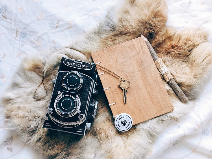 minolta autocord near brown wood grain covered pocket notebook with key and pencil above brown fur photo