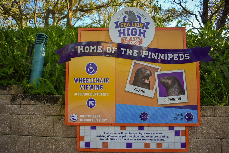 Orlando Florida . February 26  2019. Sea Lion show sign at Seaworld Theme Park. photo