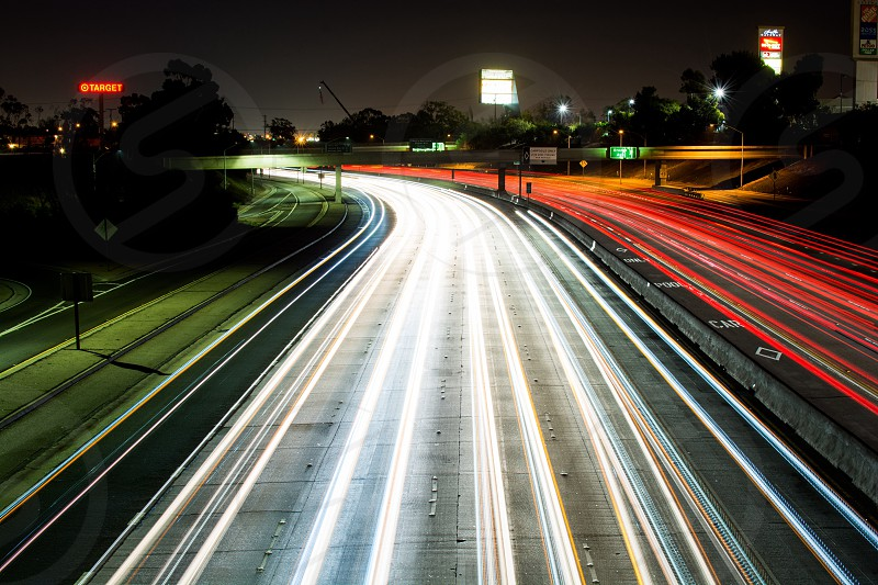 Night photography street freeway long beach photo