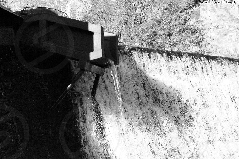 black and white waterfall  photo