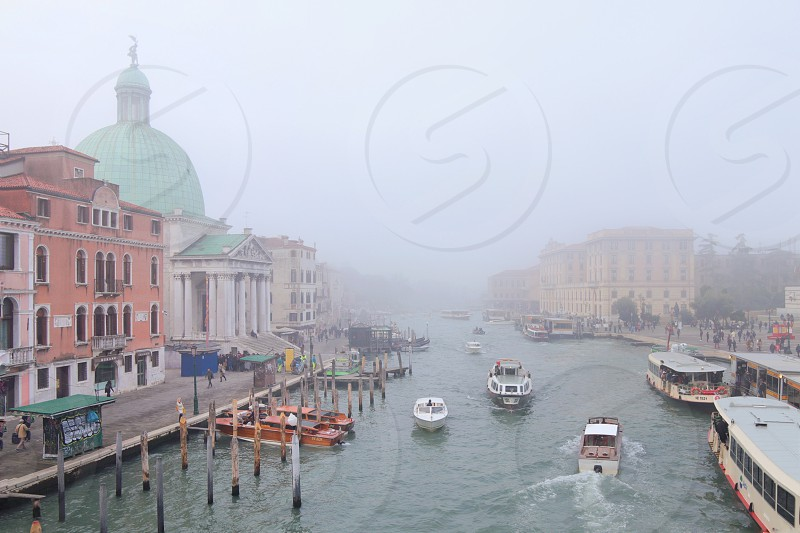 Fog Venice italy river boat architecture canal old town  photo