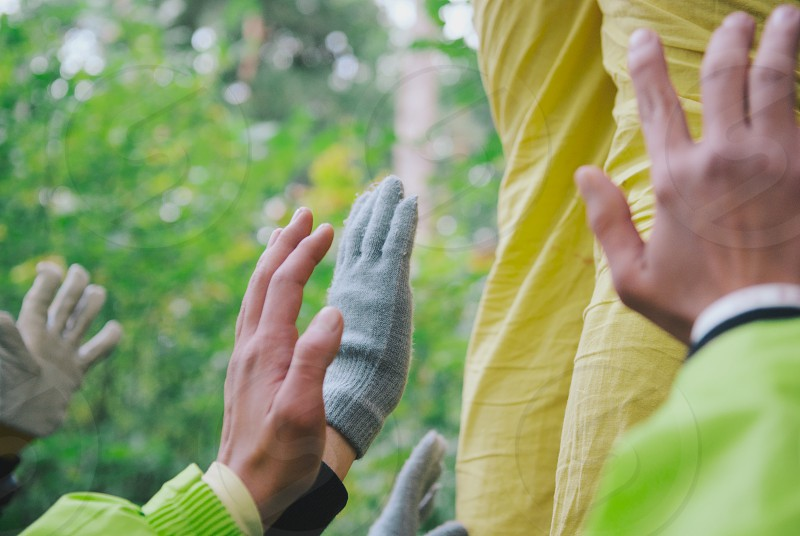 Hands during a team building exercise. photo