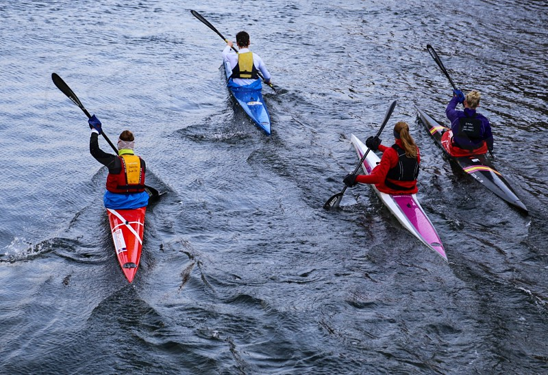 Sport canoes canal water people wet training transport transportation nature interest  photo