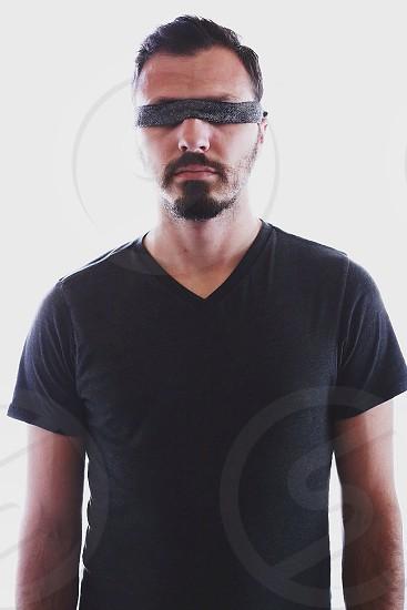 men's black vneck short sleeve t-shirt photo