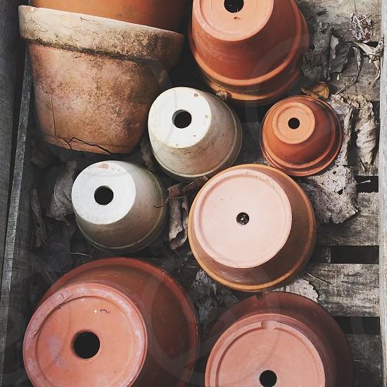 brown plastic pot photo