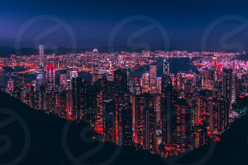 Hong Kong city skyline at night from Victoria Peak photo