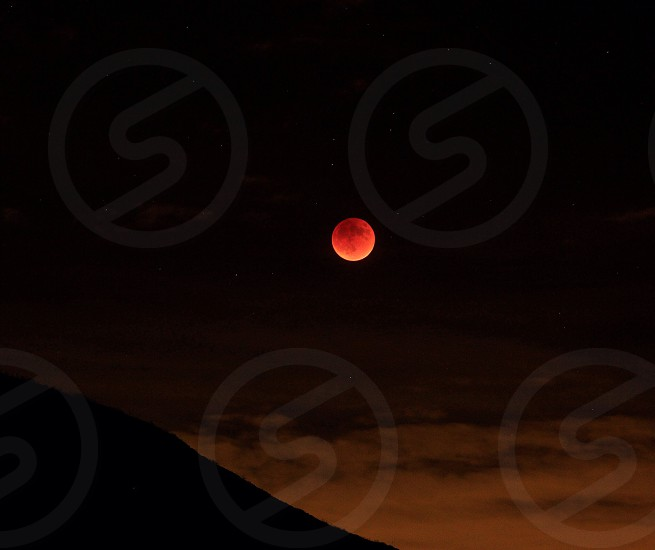 Blood moon eclipse landscape nature red moon color beautiful  photo