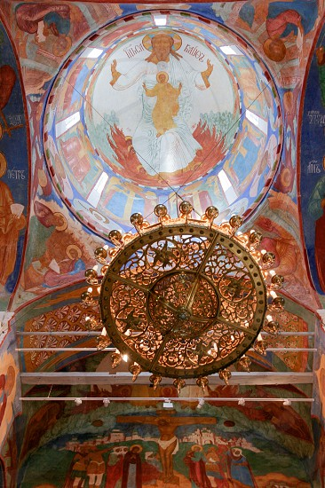 Chandelier under dome inside the Transfiguration Cathedral  of the Saviour Monastery of St. Euthymius Russia Suzdal photo