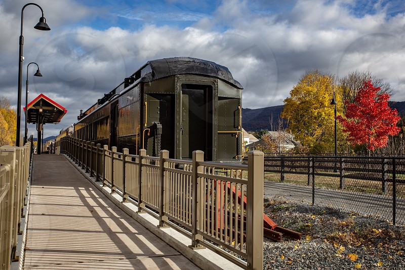 Train in the Berkshires during fall foliage  photo