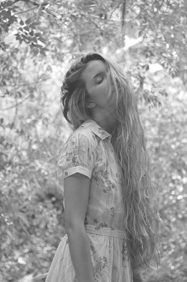 Model Monique Brigham wearing a stunning sheer button-up Ralph Lauren dress photo