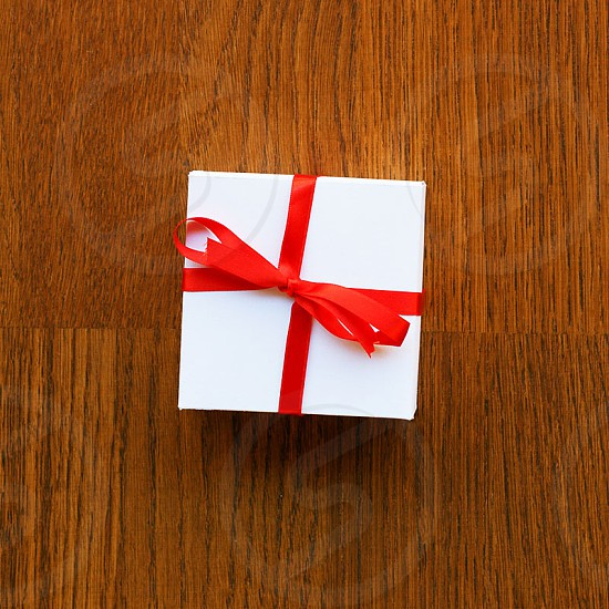 white and red gift box photo