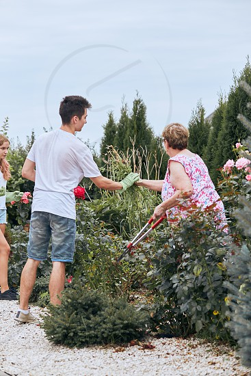 Grandchildren helping grandmother at a home garden. Candid people real moments authentic situations photo