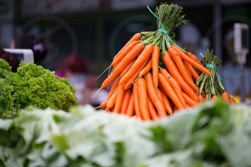 Green market in Belgrade Serbia - carrots at market stall photo