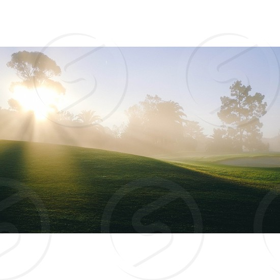 fog over green golf course hills photo