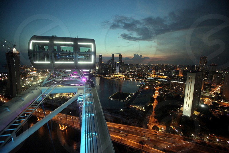 the view from ferris wheel to the Bank quater at the Singapore River and Marina Bay in the city of Singapore in Southeastasia. photo