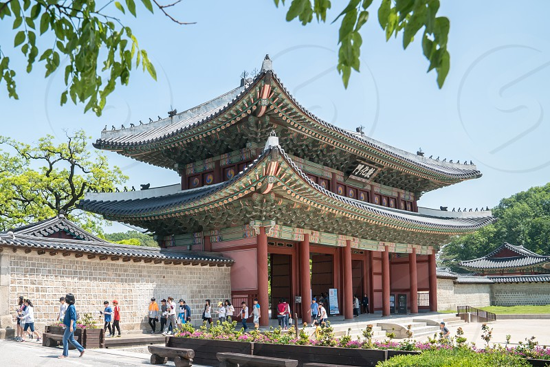 Changdeokgung Palace Old and Beautiful architecture at Seoul Korea photo