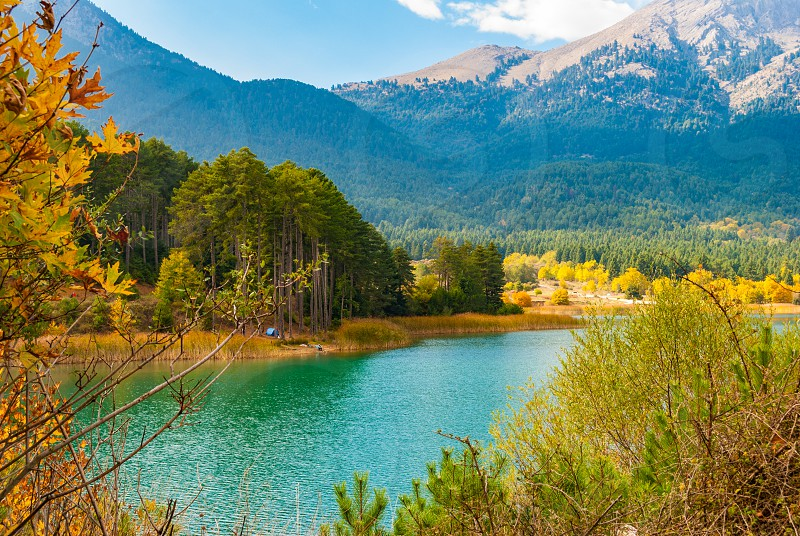Picturesque autumn landscape in Doxa lake in Peloponnese Greece photo