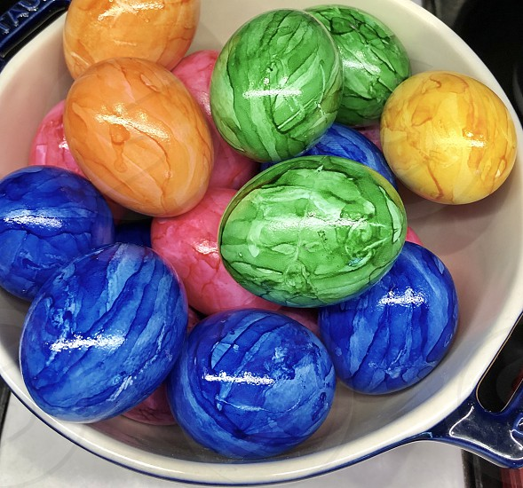 Easter egg Easter egg color colorful dyed marble boiled  photo