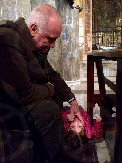 Grand father niece love caress kindness cheerfulness  photo