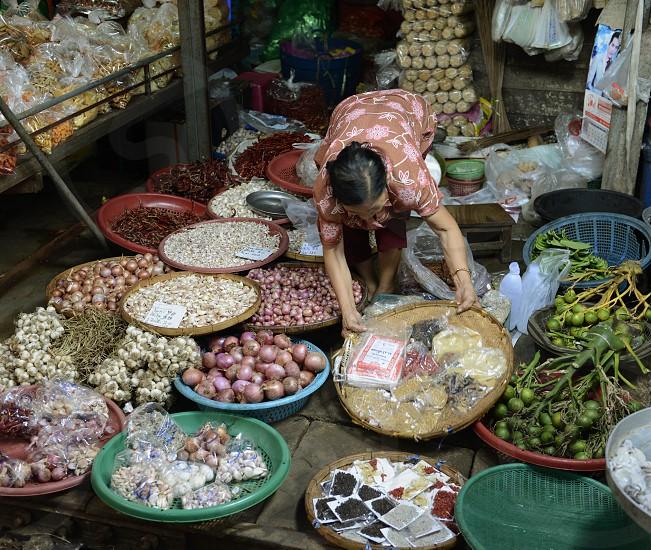 the food market at the Maeklong Railway Markt at the Maeklong railway station  near the city of Bangkok in Thailand in Suedostasien. photo