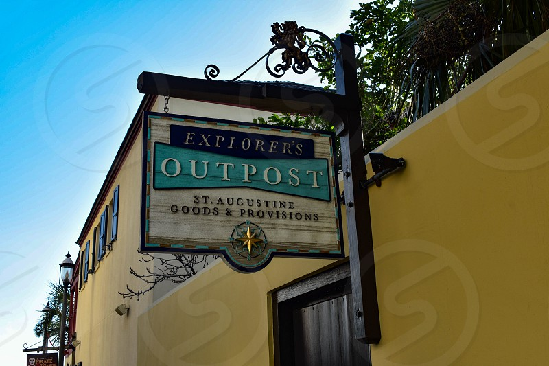 St. Augustine Florida. January 26  2019. Outpost Sign in St. George street in Florida's Historic Coast. photo