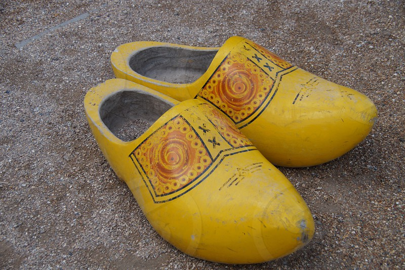 Traditional Dutch wooden shoes - clogs photo