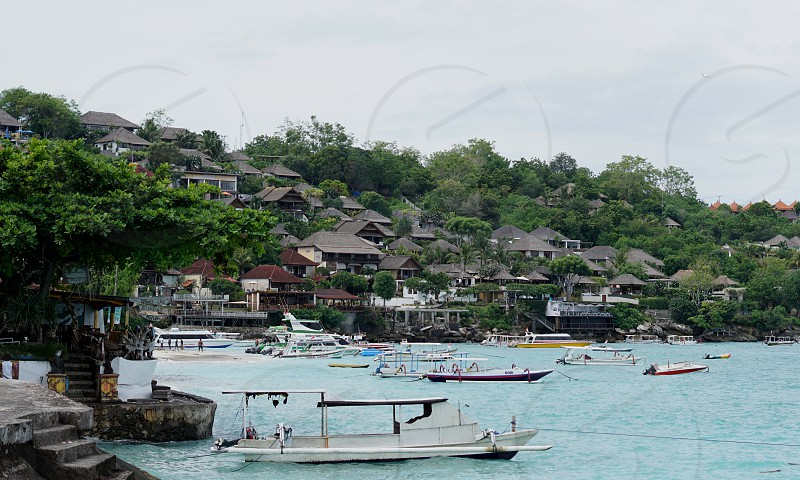 Beach of Nusa Lembongan island off Bali in Indonesia.  photo