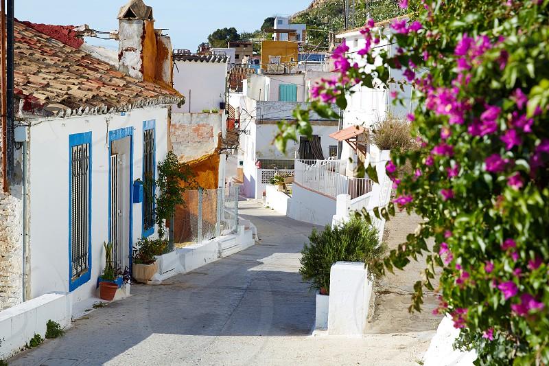 Cullera village streets in Mediterranean Valencia of Spain photo