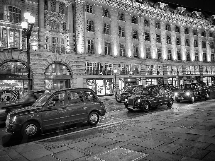 city night lights traffic taxi cars london street photo